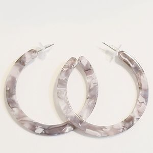 Jewelry - Big grey and clear acrylic hoops